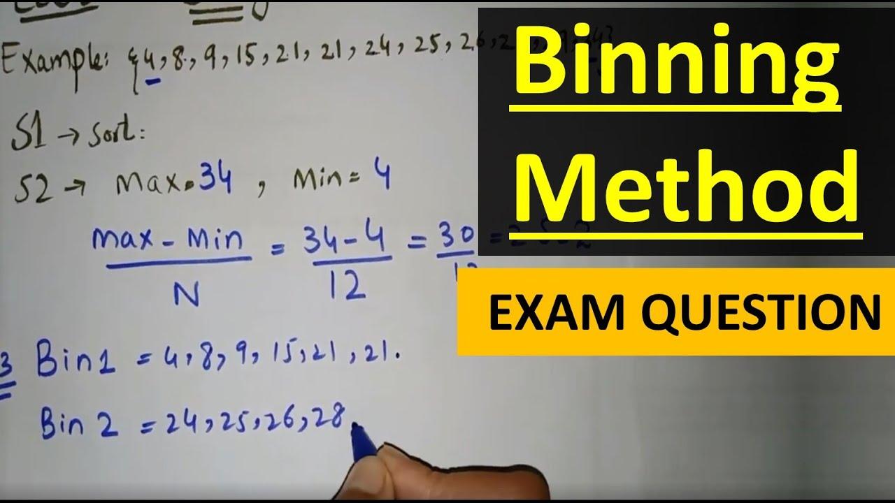 Exam Question Binning Method In Data Mining In Hindi Urdu Binning Methods For Data Smoothing Youtube