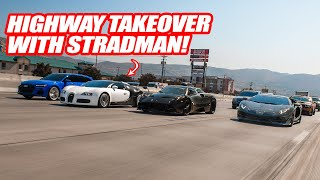 VISITING STRADMAN & HIS BUGATTI VEYRON W/ THE PAGANI HUAYRA! *THEN WE TAKEOVER A HIGHWAY*