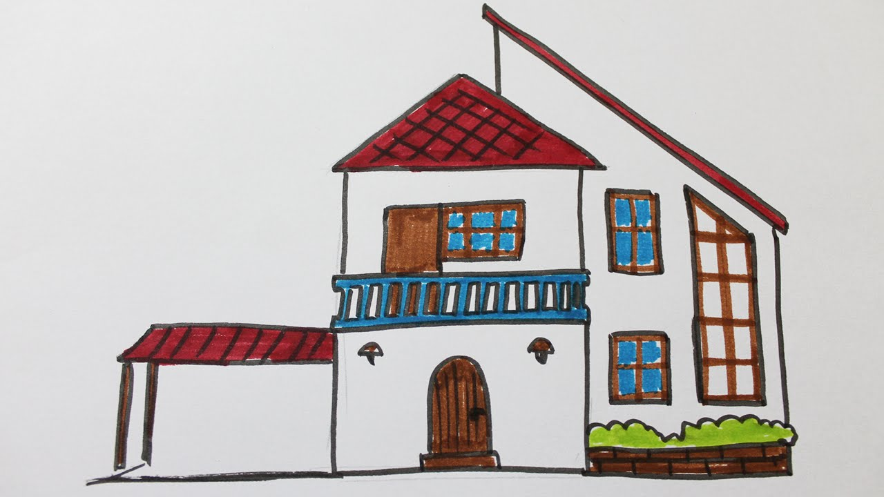 Comment dessiner une maison moderne youtube for Dessin maison