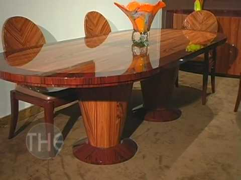 High Gloss Finished Dining Set With Double Pedestal Table By Global USA