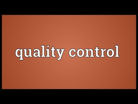 Quality control Meaning