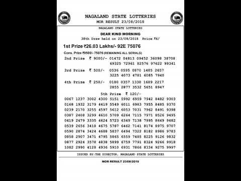 Nagaland Lottery Dear Kind Morning Result 23-08-2018