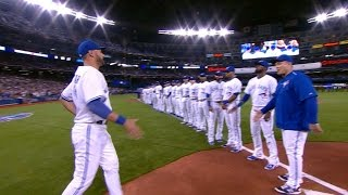 TB@TOR: Blue Jays introduced before home opener