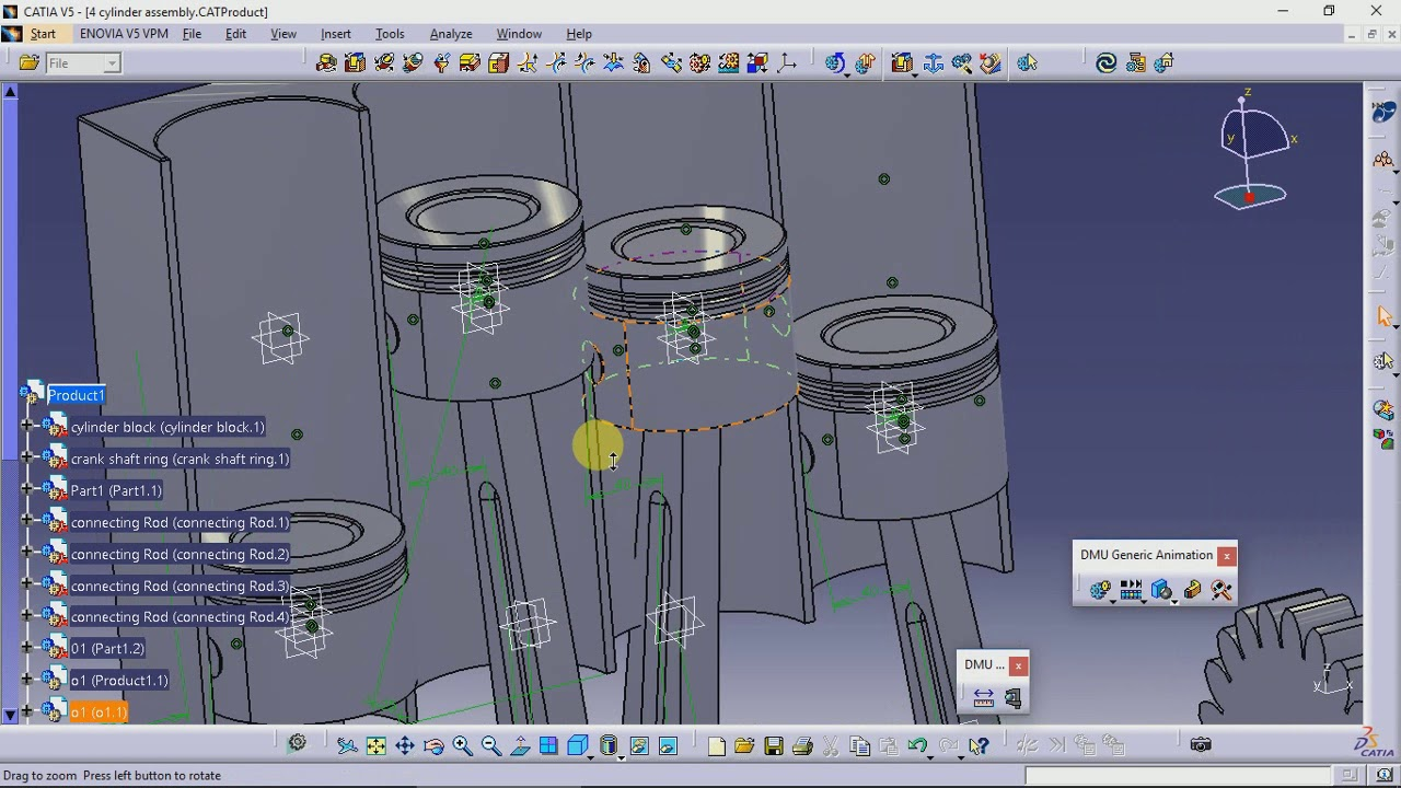hight resolution of catia kinematic 4 cylinder engine