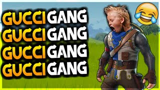 KID SINGS GUCCI GANG IN Fortnite!! HILARIOUS! MUST WATCH! (FUNNY MOMENTS)