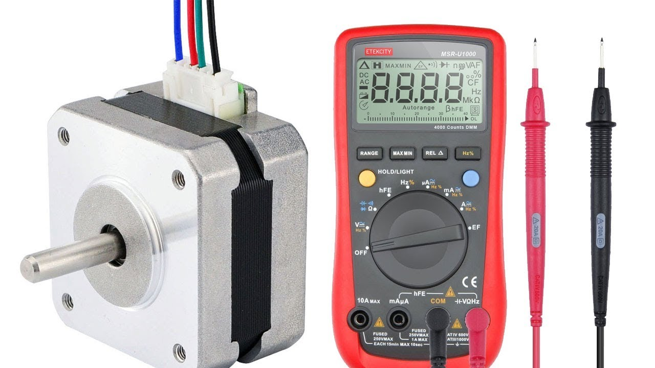 easy identify leads on a 4 wire stepper motor with multimeter [ 1280 x 720 Pixel ]