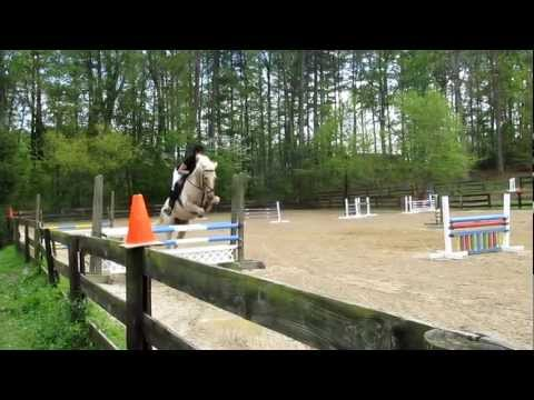Caspian's first jumper show! Finally Farm, 4/1/12 Training Jumpers (3ft) - Oops!