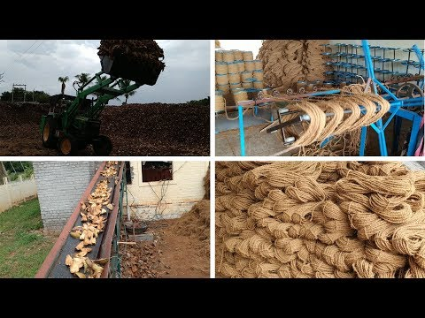 coir rope making process and machines in factory || coconut husk to coir rope