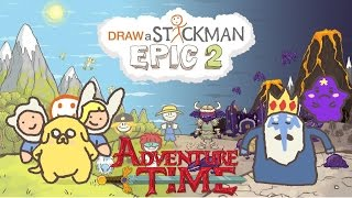 ADVENTURE TIME Draw a Stickman Epic 2 Gameplay - Finn Jake vs Lumpy Ice King - Finding Heart Pieces