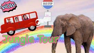 Wheels on the bus Song to jungle ジャングルバスのうた 童謡 子供向けの歌 幼児向け キッズ 子供教育寸劇ごっこ遊び・おままごと -こどものうた