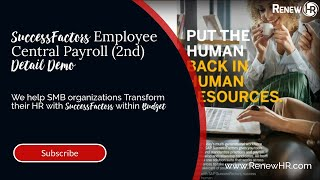Successfactors employee central payroll allows you to have more confident control of your processes ensure workforce is paid accurately and o...