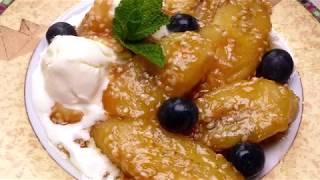 Нежный и вкусный десерт/Жареные бананы в карамели с кунжутом