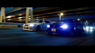Night Run with Charles' and Dustin's R34 GTR's in Tokyo | 4K