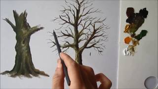 How to paint a tree trunk in acrylics lesson 2 All trees have diffe...