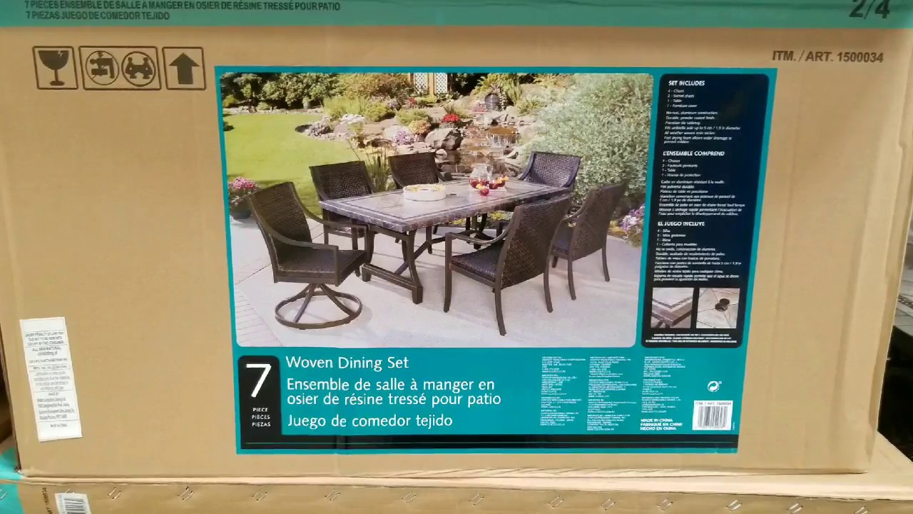 Costco Agio 7 Piece Sling Dining Set W Tile Table Top 969 Youtube