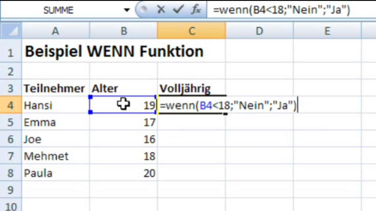 Excel Formeln Wenn Dann