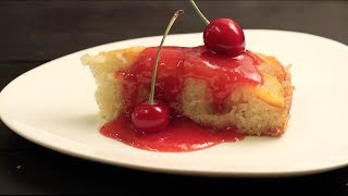 How To Make Peach Upside Down Cake With Warm Cherry Sauce Recipe