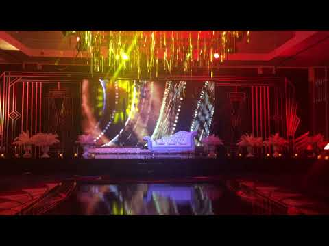 Stage, Center opening LED Screen, dance floor, lights & Sound set up at a Lebanese wedding