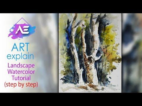 Tree Watercolor Painting | How to paint a watercolor landscape | Art Explain