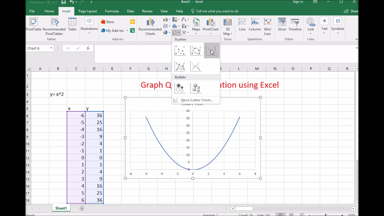 How To Graph A Quadratic Equation Using Ms Excel Youtube