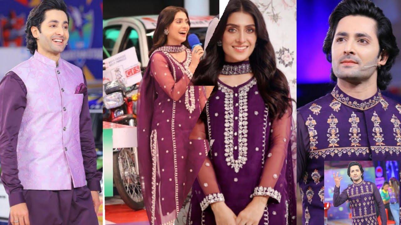 Ayeza khan and Danish Taimoor wearing same colour dressing (@Showbiz Videos )