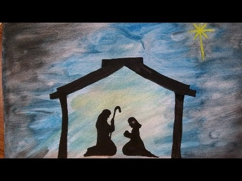 Art How To Paint A Nativity Silouette Christmas Story