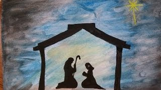 Art: How to Paint a Nativity Silouette Christmas Story, Jesus Mary and Joseph