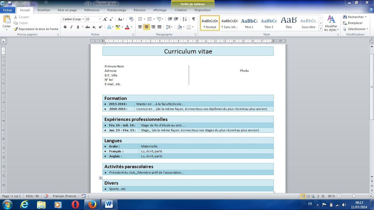 comment faire un cv horizontal sur word