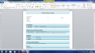COMMENT CREER UN CV SIMPLE SUR WORD (exemple bon cv)