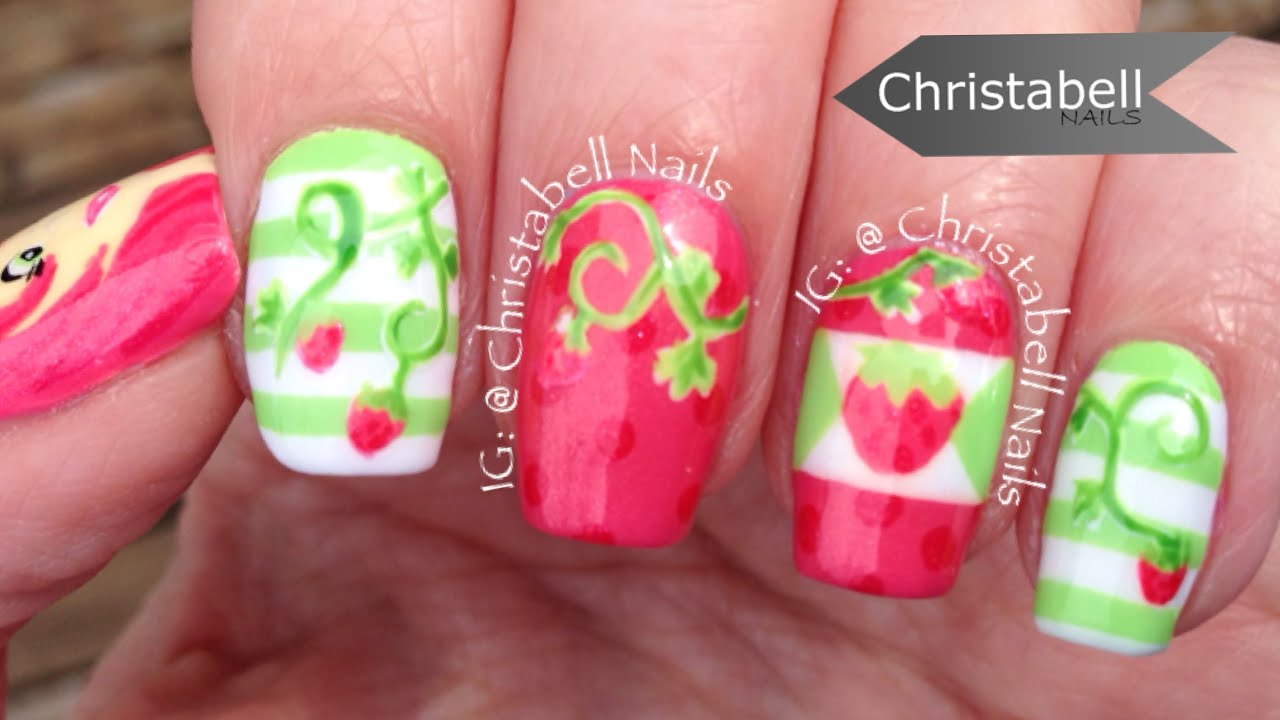 Unique Strawberry Shortcake Nails Illustration - Nail Art Ideas ...