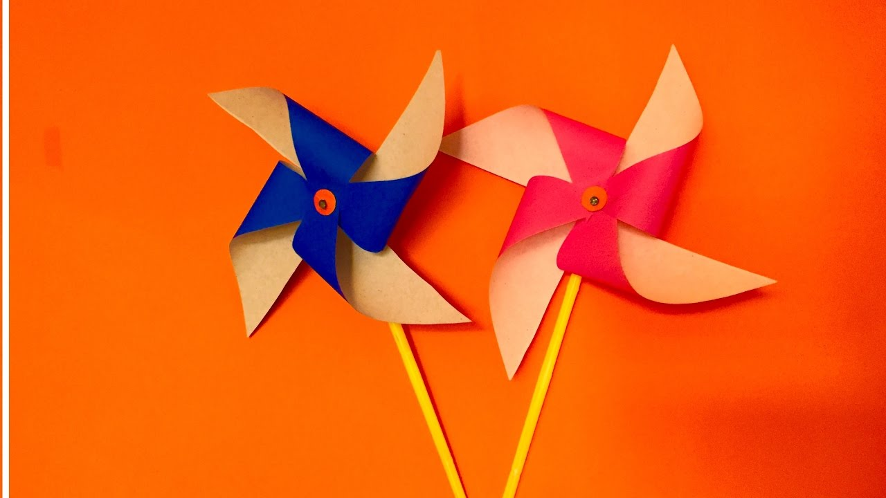 How To Make Paper Pinwheel Craft For Kids Spinning Windmill Making