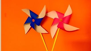 How to make Paper Pinwheel craft for kids | Spinning Windmill making at home