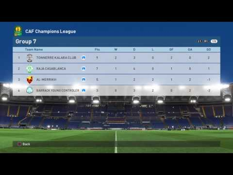 LIBGamer PES 2017 CAF African Champions League Group Standings