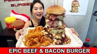 WAGYU BEEF & BACON BURGER (Eating Show - Mukbang) Peggie Eats S02E25