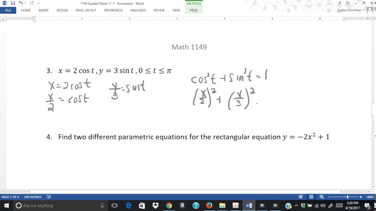 Section 11 7 Rectangular Form of Parametric Equations Example 3 ...