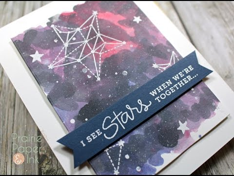 Papercraft SSS Seeing Stars | Aug 2016 Card Kit | Galaxy Background w Distress Inks