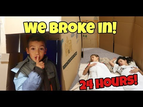 24 HOURS in THAT YOUTUB3 FAM's Boxfort Maze! WE BROKE INTO THEIR HOUSE!