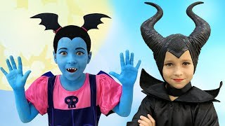 Sofia Dresses up In a Maleficent costume and prepares a Halloween Gift