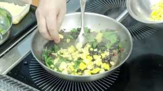 Crushed Black Bean, Spinach and Avocado Taco with Cevich and Mango Pico