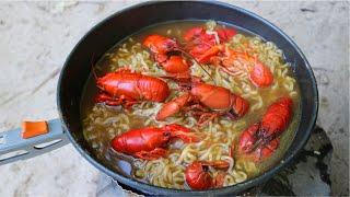 Making Crawfish Ramen Noodles - Epic River Cookout!