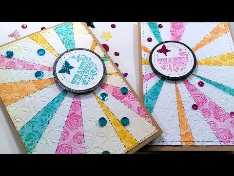 Starburst Stencil Quilt Look Stamped Card
