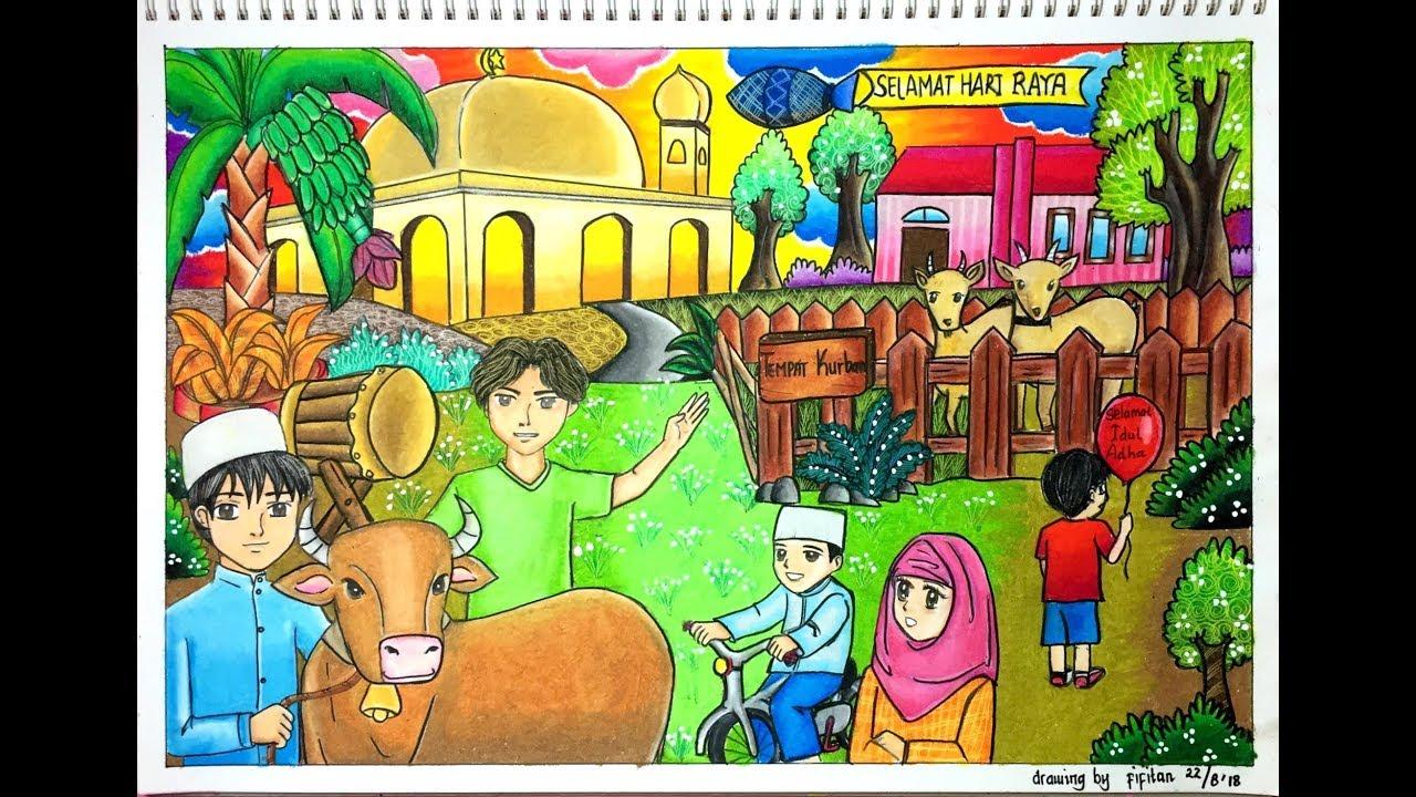 Download Himpunan Contoh Gambar Mewarna Hari Raya Idul Adha