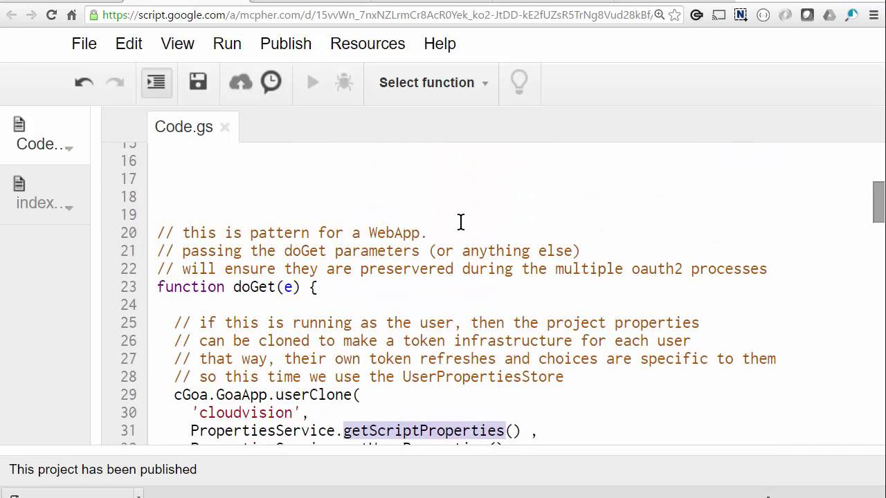Using OAuth2 when published as 'user accessing the webapp' - Desktop