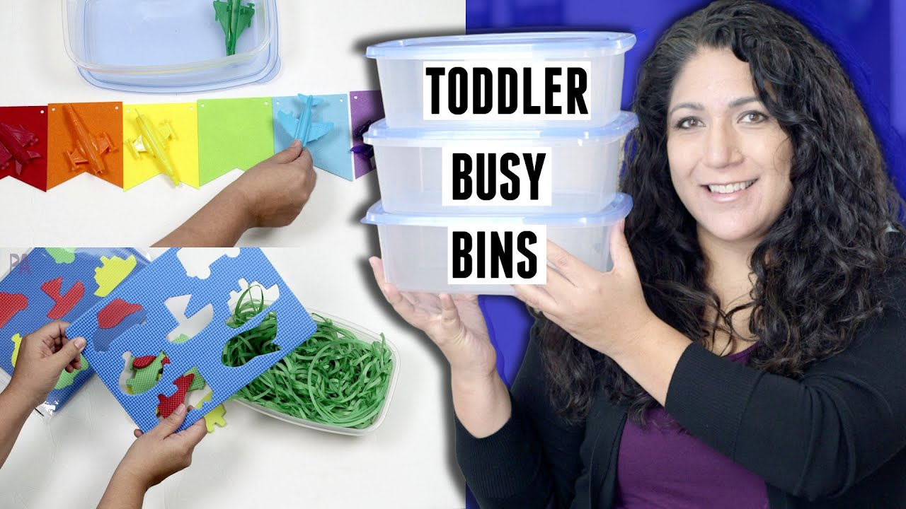 TODDLER BUSY BINS - Activities to Keep Toddlers Busy from DOLLAR TREE