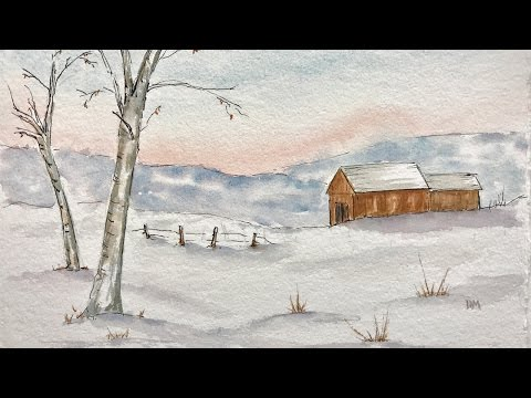 How to Paint Ink and wash snow scene