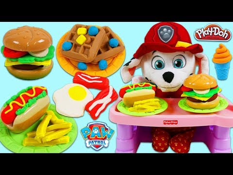 Thumbnail: PAW PATROL Pups Feeding Baby Marshall Play Doh Breakfast Hamburger Pizza Ice Cream and More!