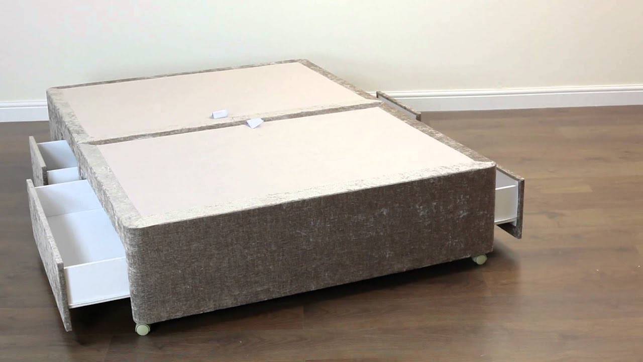 Amber divan bed base 5ft king size 4 drawer pablo mink for King size divan with drawers
