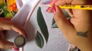 Pintura en tela hojas para cenefa de toalla con cony # 3