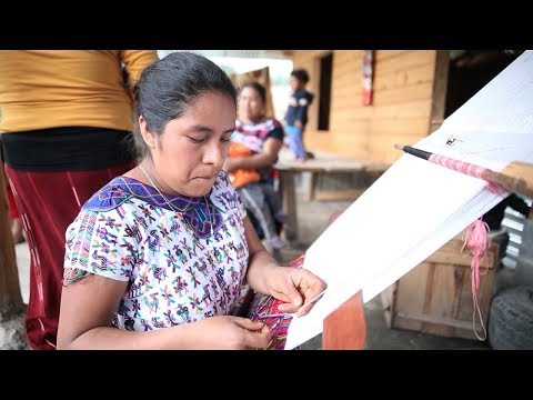 Women weaving traditional outfits in Guatemala (everything is manual)