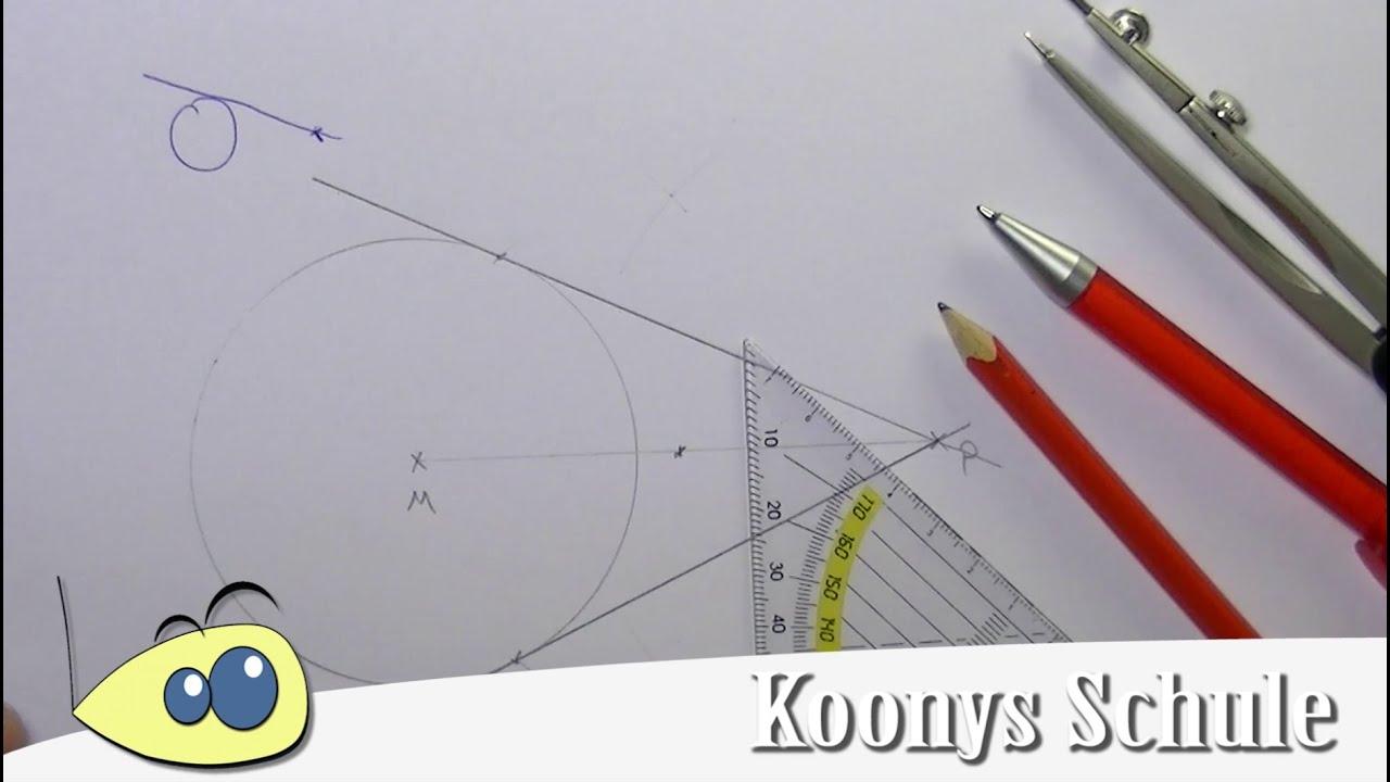 Tangente an Kreis mit Punkt, Geometrie, Konstruktion mit Zirkel ...